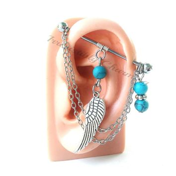 Angel wing charm wire wrapped turquoise stones Industrial/Scaffold barbell 14 gauge stainless steel body jewelry