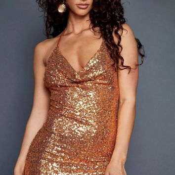 Bronze Bodycon Sequin Mini Dress