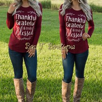 Thankful, Grateful & Truly Blessed Long Sleeve Top