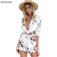 Womens V Jumpsuit Romper Beach Belted Ruffles Print Short Size