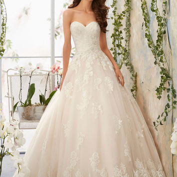Alencon Lace Appliques with Crystal Beaded Waistline onto Tulle Morilee Bridal Wedding Dress | Style 5406 | Morilee