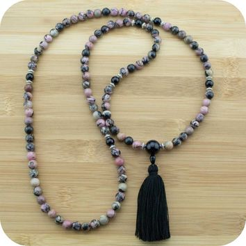 Rhodonite Mala with Black Onyx