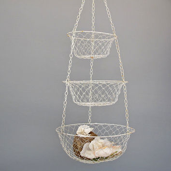 vintage white wire hanging basket 3 tier by KatyBitsandPieces