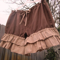 Brown Bloomers with Double  tan ruffles