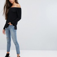 ASOS Off Shoulder Top in Slouchy Fit at asos.com