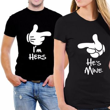 I'm Hers He's Mine T-Shirts - Women's Crew Neck Novelty Top Tee