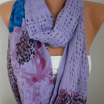 Lilac  Infinity Scarf Shawl Circle Scarf Loop Scarf Fabric Knitted Lace Scarf Gift -fatwoman