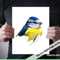 Bluetit art print JPG digital file Nature art