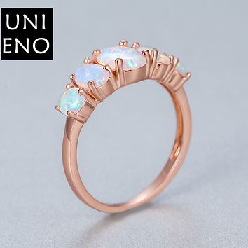 Rainbow agate Jewelry High quality claw set with 5 oval opal opal ring rose gold