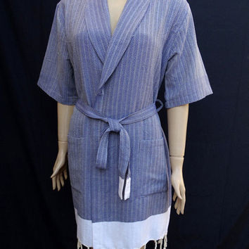 Women's navy blue colour herringbone patterned soft Turkish cotton kimono bathrobe, bridesmaid robe, dressing gown, maternity robe.
