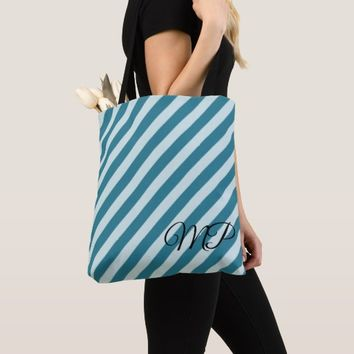 Shades of Blue Stripes Tote Bag