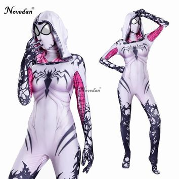 Cool Gwendolyn Cosplay Spider Gwen Costume Mask Suit Venom Gwen Stacy Spiderman Halloween Costume For Women Zentai Bodysuit CatsuitAT_93_12