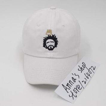 Dreamville J. Cole White Embroidered Strapback Hat cap Born Sinner Dad hats