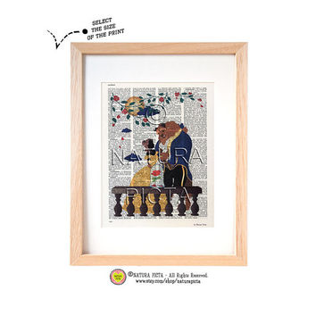 Beauty and the Beast dictionary print-Nursery art print-Fairy Tale print-Bauty and the Beast book page-Upcycled Dictionary art- NATURA PICTA