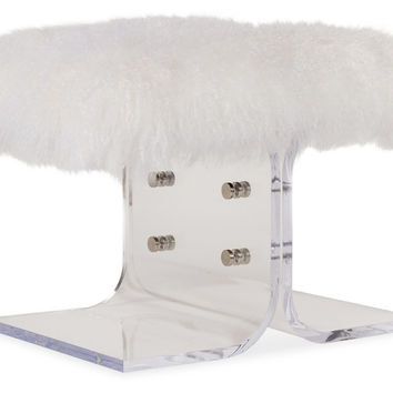 "Curly CeCe 24"" Tibetan Lamb Bench, White, Acrylic / Lucite, Entryway Bench"