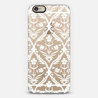 trellis ikat white transparent iPhone 6 case by Sharon Turner | Casetify