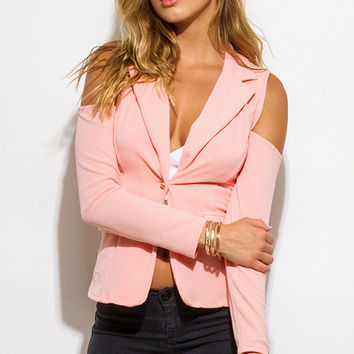 Cold Shoulder Blush Cutout Blazer