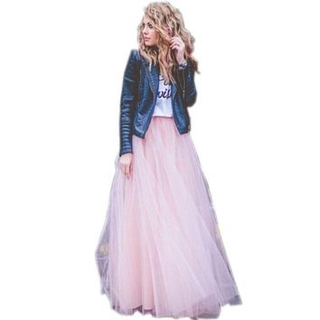New Arrival Dreamlike Pink Skirts Elastic Waistline A Line Floor Length Layered Tulle Long Skirt Full Maxi Skirts