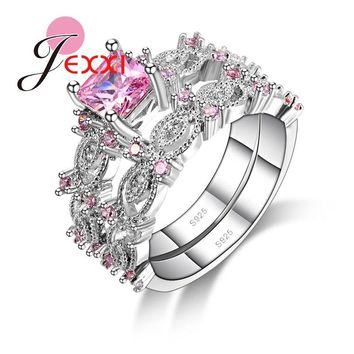 JEXXI Hot Selling 2PCS Beautiful Wedding 925 Sterling Silver Women Pink Cubic Zirconia Crystal Couple Rings Set Trendy Jewelry