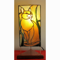 Cat Lover's Yellow/Orange Tabby Cat Stained Glass Lamp
