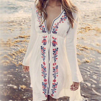 Long Sleeve Boho Peasant Style Beach Cover Up Dress