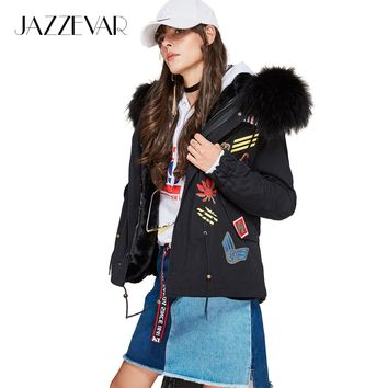New high Fashion street Winter Woman Large raccoon Fur Collar parka Hooded Short Coat Outwear Appliques Military Jacket