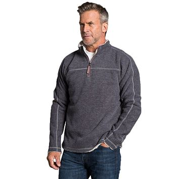 Bonded Vintage Cord 1/4 Zip Pullover in Charcoal by True Grit - FINAL SALE