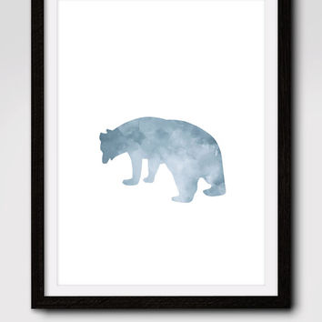 60% OFF SALE Watercolor Gray bear print, bear art, bear decor, woodland decor, woodland nursery, abstract watercolor, animal, grizzly bear