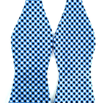 Blue Black White Checkered - Self-Tied Bow Tie