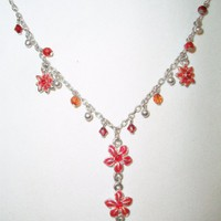 eBlueJay: Red Hibiscus Flower Y Necklace