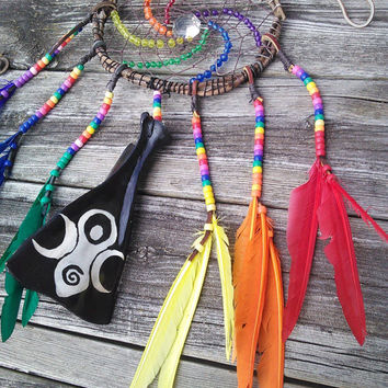 Rainbow Goddess Bone Dream Catcher,Deer Bone Scapula Dreamcatcher,Tribal Pagan Occult Wiccan Home Decor, Taxidermy Oddities, Moon Goddess
