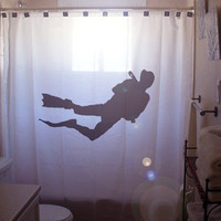 Scuba Diver SHOWER CURTAIN deep sea sideways diving underwater dive water sports snorkeling