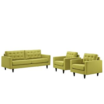 Empress Sofa and Armchairs Set of 3 Wheatgrass EEI-1314-WHE