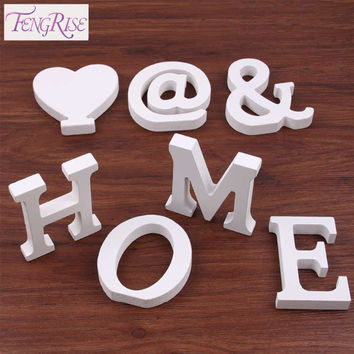 FENGRISE Home Decor 8 cm Wooden White Letters Table Ornament Wedding Decoration Craft Thick Wood Alphabet Name Wall Art Souvenir