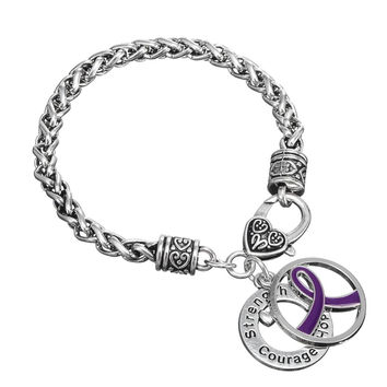 Purple Cancer Ribbon Bracelet Female Awareness Carter Secret Inspirational Bracelets For Women Strength Courage Hope Jewelry