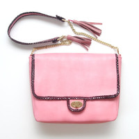 CHLOE 1/ Light pink & Burgundy convertible shoulder purse with tassels - Ready to Ship