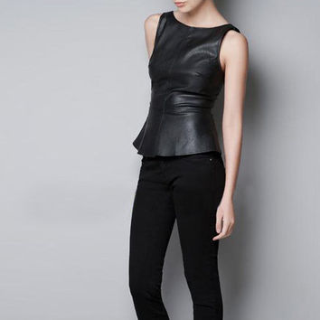 Women Faux Leather Tank Tops Chic Ruffles Peplum T-shirts O-neck Tees Brand Casual shirts Camis Black Slim Vest