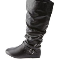 Black Belted Slouchy Flat Knee-High Boots by Charlotte Russe