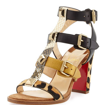 Christian Louboutin Rocknbuckle Caged 85mm Red Sole Sandal, Version Multi