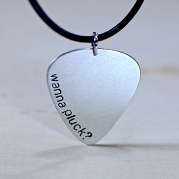 Aluminum Guitar Pick Necklace - guitar pick jewelry - plectrum - aluminum plectrum - funny gift for him - wedding gift  - NL721