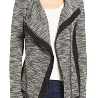 Two by Vince Camuto Asymmetrical Mixed Media Jacket (Regular & Petite) | Nordstrom