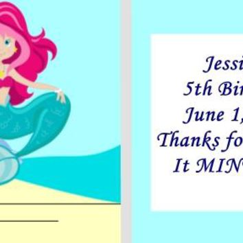 20 Mermaid Birthday Party Matchbook Mint Favors Pink Hair