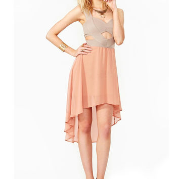 Pink Sleeveless Cut-Out V-Neck Long Back Chiffon Dress