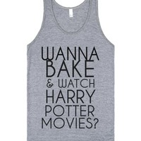 Wanna Bake and watch Harry Potter tank top tee-Athletic Grey Tank