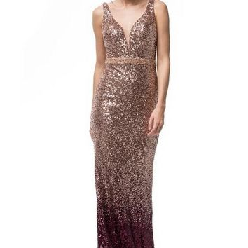 V-Neck Sequin Long Evening Dress