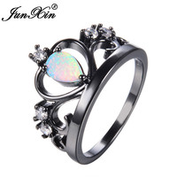 JUNXIN Fashion Crown Design White Fire Opal Ring Vintage Black Gold Filled Jewelry Wedding Rings For Men And Women Dropshipping