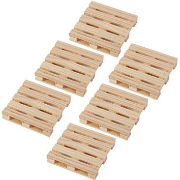 Coasters Mini Wooden Pallet Drink Coasters For Wine Glasses Beer Whiskey Cocktail Hot and Cold Drinks and Other Beverages Set of 6