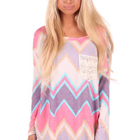 Pastel Chevron Tunic Top with Crochet Pocket Detail
