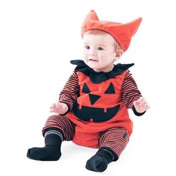 Newborn Infant Baby Boy Striped Pumpkin Romper+Vest+Hat Halloween Outfits Costume Set Long Sleeve Baby Rompers Amazing Fashion