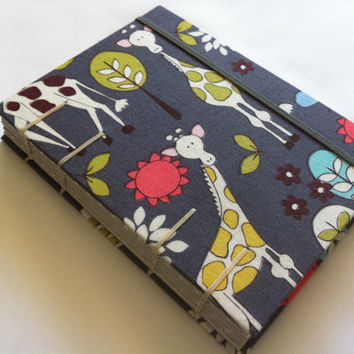 Coptic Stitched Fabric Journal - Handmade - Giraffes